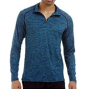 ZIYOU Herren Fitness Elastische T-Shirt mit Stehkragen Laufen Schnell Trocknende Langarm Oberteile Tee