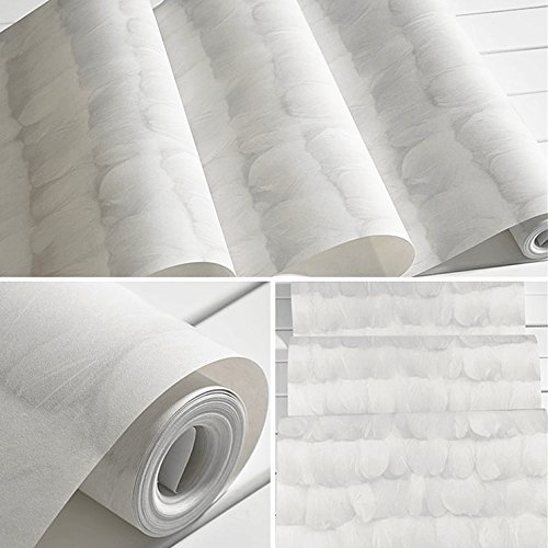 JSLCR 3D Wallpaper grau weiße Vlies Feder Kleidung Shop modernen minimalistischen Wohnzimmer Wand Dekoration Shop Hintergrundpapier,Feder-grau