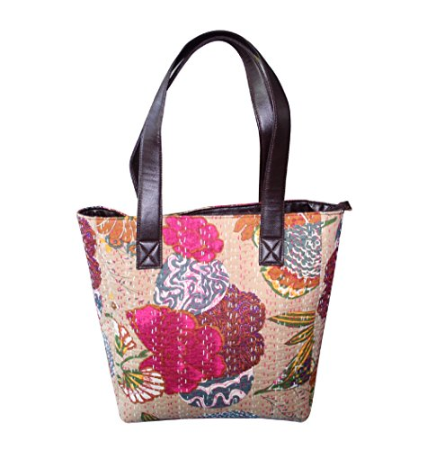 HandicraftworldWoman's Shoulder Bag Knatha Massanger Handbag Cotton Shopping Brown Fashion Bag