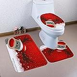 artistic9(TM) 3piceces rutschfeste Badematten Set WC Fuß Pad Sitzbezug Heizkörper Gap für Weihnachten, C, 50x80cm
