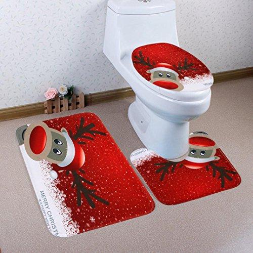 artistic9(TM) 3piceces rutschfeste Badematten Set WC Fuß Pad Sitzbezug Heizkörper Gap für Weihnachten, C, 50x80cm Auto-lack-ständer