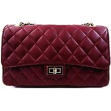 Bolso de mano acolchado de piel italiana, diseño clásico
