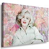 Julia-art Leinwandbilder - Marilyn Monroe Blumen Bild 1 teilig - 40 mal 30 cm Leinwand auf Rahmen - sofort aufhängbar ! Wandbild XXL - Kunstdrucke QN.168-1