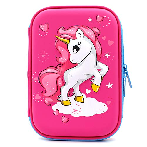 Astuccio rigido con unicorno volante goffrato - grande scatola per la scuola con scomparti - borsa per cancelleria per bambini e bambine Hot Pink