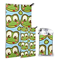 Rtosd Frog Cute Animal Cartoon 2 Pack Microfiber Boy Towels Beach Compact Towel Set Fast Drying Best For Gym Travel Backpacking Yoga Fitnes