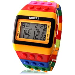 Lightinthebox@ Colorful Block Silicone LCD Digital Light Women's Ladies Sport Wrist Watch Red Blue Yellow