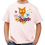 Raxxpurl Fröhliche Katze im Blumenbeet Fun Kinder T-Shirt_rosa_158/164