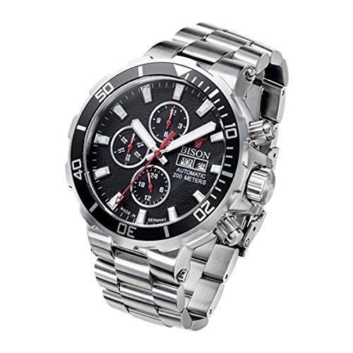 Bison Herren Uhr Armbanduhr Automatik Bison No. 1 BI0001BKMB