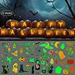 XIN QI Halloween Tattoos Luminous Party Favor for kids, Glitter Stickers Temporary Tattoos Waterproof Tattoos Funny Ghost Pumpkin Branches Spider Skull Carnival Bat Party Decoration(22 sheets)