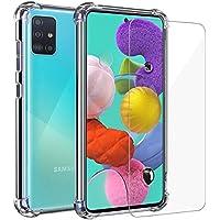 Annhao Funda Samsung Galaxy A51 + Cristal Templado, Transparente TPU Ultrafina Cuatro Esquinas Anti-Caídas Suave Silicona Anti arañazos, Case para Samsung Galaxy A51