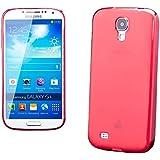 iCues Samsung Galaxy S4 |  Transparent TPU Case Rot | [Display Schutzfolie Inklusive] Transparent Klarsichthülle Durchsichtig Klare Klarsicht Silikon Gel Schutzhülle Hülle Cover Schutz
