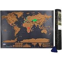 [Patrocinado]Mapa del Mundo,Samione Mapa para rascar Deluxe Edition Mapa Scratch Negro dorado,Mapa del mundo cartel personalizado (42.3x30cm)