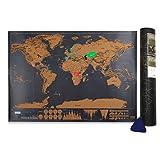 Mapa del Mundo,Samione Mapa para rascar Deluxe Edition Mapa Scratch Negro dorado,Mapa del mundo cartel personalizado (42.3x30cm)