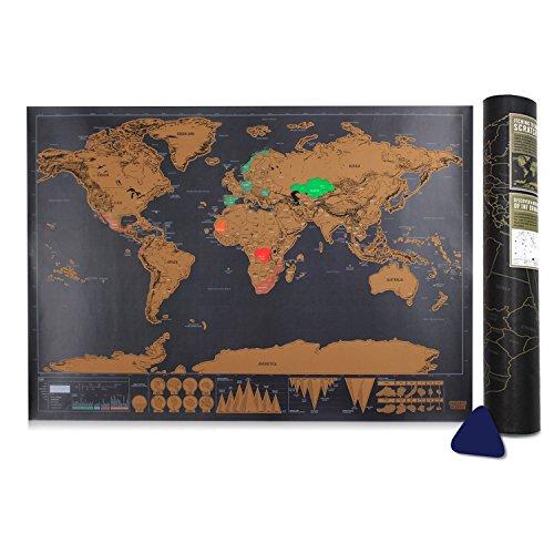 Carte du monde, Samione Scratch le monde Carte du monde à gratter Scrape off World Map - Grattez les endroits que vous avez visité ,42.3X30CM
