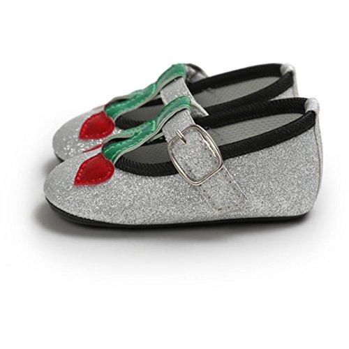 OverDose Baby Cherry Prinzessin Soft Sohle Schuhe Kleinkind Turnschuhe Freizeitschuhe Silber