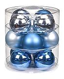 Christbaumkugeln Glas 75mm//Weihnachtskugeln Weihnachtsschmuck Weihnachtsdeko Baumkugeln Baumschmuck Christbaumschmuck Kugeln Glaskugeln Dose, Farbe: Finaly Blue (Blau Azurblau)
