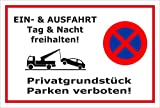 Schild Park-verbot - Parken verboten - Ein- und Ausfahrt frei-halten - 30x20cm | stabile 3mm starke Aluminiumverbundplatte – S00020K-B +++ in 20 Varianten erhältlich