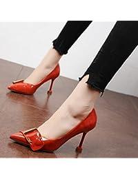 Xue Qiqi Chaussures de mariage rouge fashion chaussures femme très bien avec l'extrémité de la partie pour les chaussures à haut talon chaussures femme unique bouche peu profondes,39, rouge