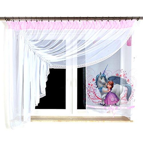 GML-2 DISNEY Kindergardine für Mädchen / Kinder mit Motiv SOFIA DIE ERSTE für Kinderzimmer / Mädchenzimmer / Vorhänge Rosa Geraffte Vorhänge