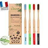 LAKSI Brosse à dents très souple en bambou en bois naturel  brosse à dents pack de4 brosse à dents biodégradable, brosse bambou écologique  brosse a dents bois