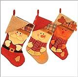 QLIGHA Weihnachtsdekoration Geschenke große Plaid Socken Nicht gewebte Fabrik Kerzentasche,L