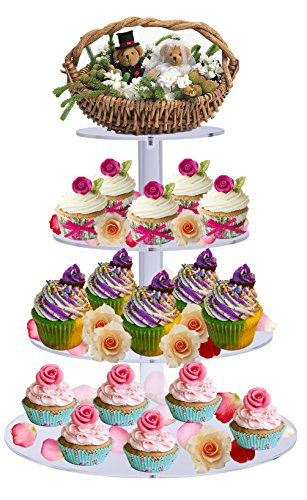 Sumerflos acrilico 4-tier Round wedding cake stand/espositore per torta/cupcake Tree Tower Holder/food espositore