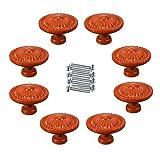 FBSHOP(TM) 8PCS Orange Möbelgriffe Vintage Türknöpfe Keramik Porzellan Porzellanknöpfe Möbelknopf Knäufe Tür der Schublade ,Schrank , Kleiderschrank