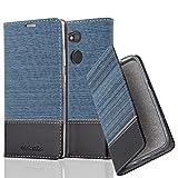 Cadorabo Hülle für Sony Xperia L2 - Hülle in DUNKEL BLAU SCHWARZ - Handyhülle mit Standfunktion & Kartenfach im Stoff Design - Case Cover Schutzhülle Etui Tasche Book