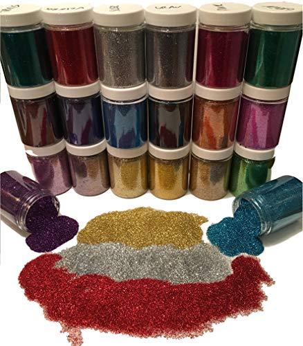 100ml Dose Premium-Glitzer – Glitter Pulver/Staub – Extra FEIN Zum Mischen für Farbe, Basteln, Malen, Scrap-Booking – Glänzend WASSERFEST –Farbe wählbar- Gold, Silber, Bronze… (Grau)