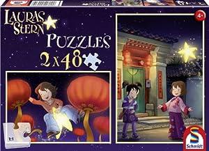 Schmidt Spiele 55571 Lauras Stern - Set de 2 Puzzles de 48 Piezas diseño Laura y Ling-Ling