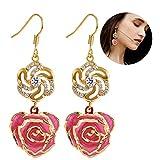 Ohrringe für Frauen, 24K Gold getaucht Rose Blume baumeln Ohrringe Schmuck für sie aus frischer Rose, letzte für immer Geburtstag Geschenke von Filfeel (Rosa)