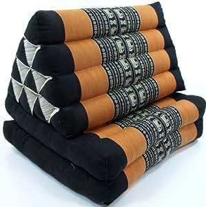 Guru-Shop Coussin Thaï, Coussin Triangulaire, Kapok, lit de Jour Avec 2 Coussins - Noir/orange, Orange , 30x50x120 cm, Coussin Thai / 2 Supports