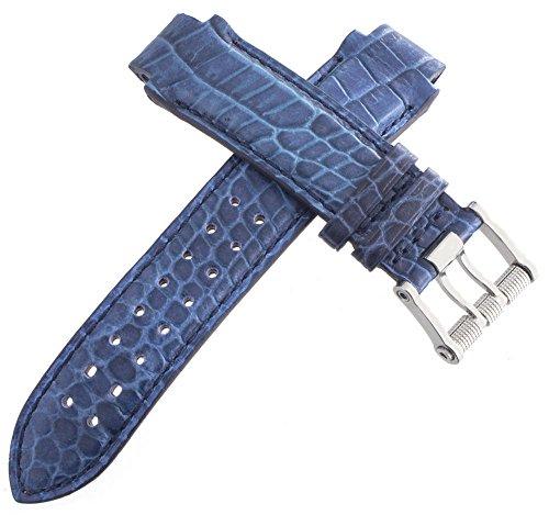 aquanautic Herren Alligator-Uhrenarmband, Leder, mit Schnalle, 15mm