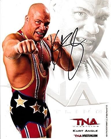 Kurt Angle signé Photo 10 x 8–WWE Wrestling 100% garantie
