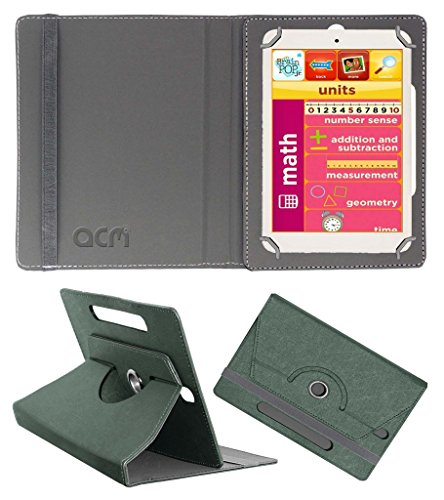 Acm Designer Rotating Leather Flip Case for Eddy Kids Learning Tab Cover Stand Grey  available at amazon for Rs.169