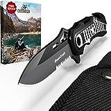 BearCraft Klappmesser in exklusivem Design mit **GRATIS eBook** | Outdoor Survival Messer mit Wellenschliff | Taschenmesser mit Gurtschneider und Glasbrecher