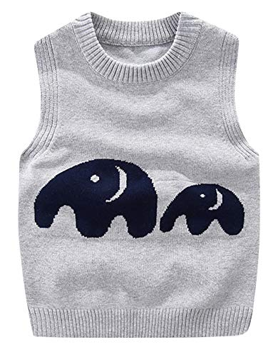Cloud Kids Baby Jungen Ärmellos Pullover Weste Elefant Strickpullover Sweatshirt Grau Größe 66