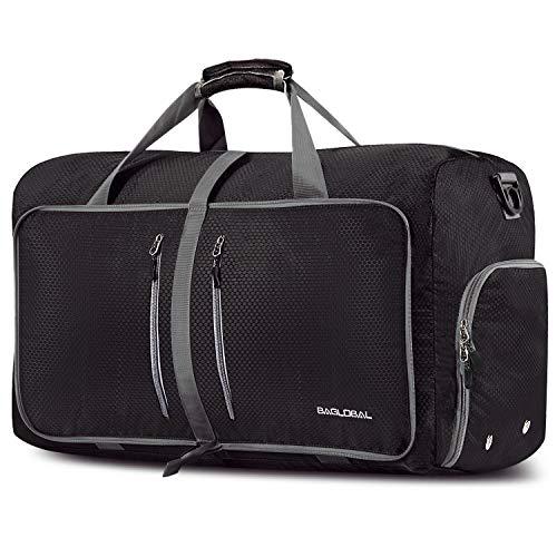 BAGLOBAL Faltbare Reisetasche Leichte Sporttasche 60L - 80L Bag mit schuhfach für Leichter reisegepäck,Travel, Gym, trainingstasche