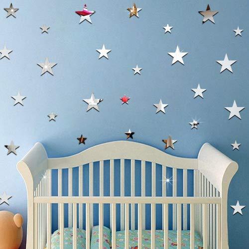 Ufengke 20-Pcs 3D Plateado Estrella Bricolaje Efecto espejo Pegatinas de Pared,Cuarto de los niños Vivero Moda Diseño Art Calcomanías Casa Decoración