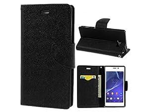 VCASE Fancy Diary Wallet Flip Cover for Mi Redmi 1S(BLACK)