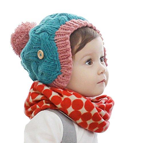 Culater® Autunno Inverno Bambini Stampa collare sciarpa a maglia O-ring del collo sciarpe (rosso)