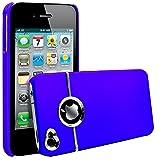 ebestStar - Coque iPhone 4S, 4 - Coque Rigide Silver-Line chromé, Couleur Bleu [Dimensions PRECISES de votre appareil : 115.2 x 58.6 x 9.3 mm, écran 3.5'']
