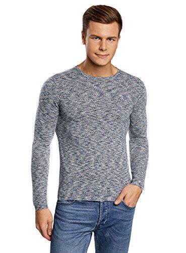 oodji Ultra Herren Edler Fein Gestrickter Langarm-Pullover mit Rundem Halsausschnitt und Melange Muster Grau (2375O)