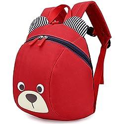 Mochila Infantil Cuerdas Mascotas Bebe NiñA Animales Barata Guarderia Saco Zoo Perro Oso Rojo(1-3año)