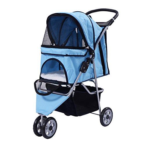 Hundewagen Hundebuggy Haustier Pet Stroller Buggy Roadster Sonnendach+Einkaufstasche in 5 Farben (blau)
