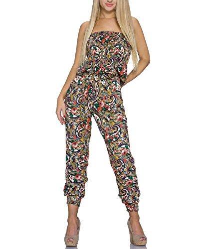 Jumpsuit Bandeau Einteiler Damen Overall Catsuit lang Blumen Muster, Braun, Größe:36/38 (In Gesmokt Taille Der Hose)