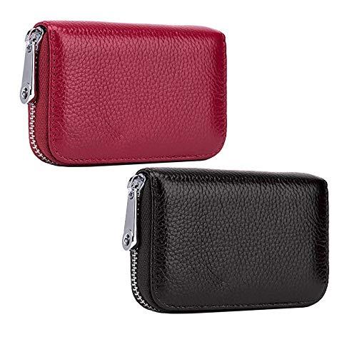 Yangmg Damen Brieftasche Große Kapazität Multi-Card Position Familien Reise Brieftasche Pass Hülle Passport Etui Ausweistasche Dokumente Organizer Für Damen (Color : Red+Black, Size : S)