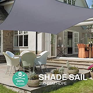 Yeahmart Sun Shade Sail Water Resistant Outdoor Garden Patio Yard Party Sunscreen Awning Canopy 98% UV Block Rectangle With Free Rope (3x2m, Grey)