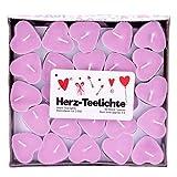 Pajoma Herz-Teelichter, herzförmige Kerze, Herz Love You im 50er Pack, 3 Stunden, Rosa