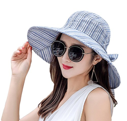 4a8f1c57a29f68 RIONA Women's Summer Sun Hat Foldable Visor Wide Brim Bucket Hat with  Bow-Knot Packable UV Protection